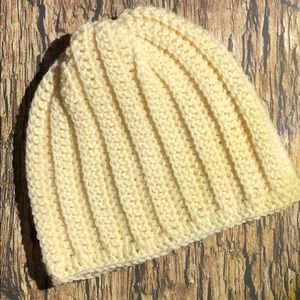 Winter beanie hat cream color adult or teen
